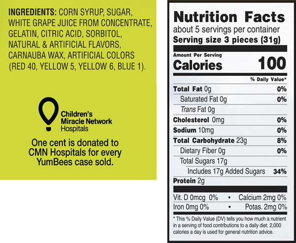 YumBees Gummi Worms Ingredients & Nutrition Facts